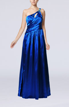 Royal Blue Gorgeous A-line Sleeveless Criss-cross Straps Elastic Woven Satin Rhinestone Evening Dresses
