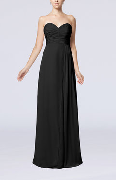 Black Simple Empire Sweetheart Sleeveless Floor Length Bridesmaid Dresses