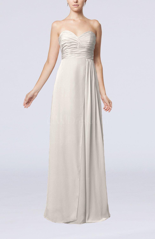 Off white simple empire sweetheart sleeveless floor length for Simple off white wedding dresses