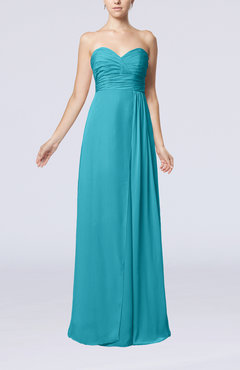 Teal Simple Empire Sweetheart Sleeveless Floor Length Bridesmaid Dresses