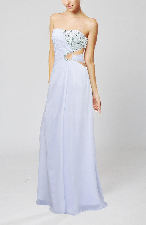 White elegant column sweetheart sleeveless chiffon beaded for White dresses for wedding guests
