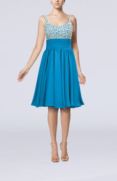 Cornflower Blue Modest Thick Straps Sleeveless Chiffon Beaded Cocktail Dresses