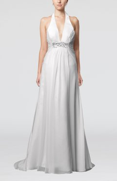White Sexy Church Empire Halter Sleeveless Buttons Sequin Bridal Gowns