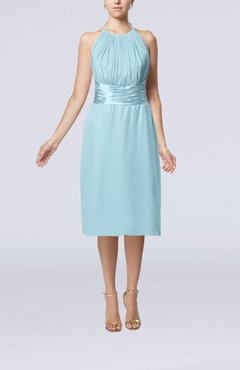 Aqua Simple Halter Backless Chiffon Knee Length Cocktail Dresses
