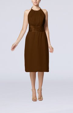 Brown Simple Halter Backless Chiffon Knee Length Cocktail Dresses