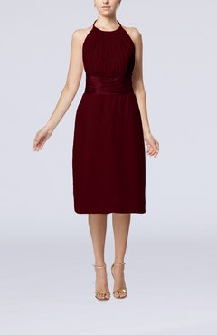 Burgundy Simple Halter Backless Chiffon Knee Length Cocktail Dresses
