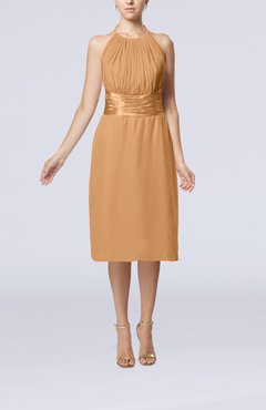 Burnt Orange Simple Halter Backless Chiffon Knee Length Cocktail Dresses