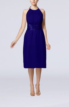 Electric Blue Simple Halter Backless Chiffon Knee Length Cocktail Dresses