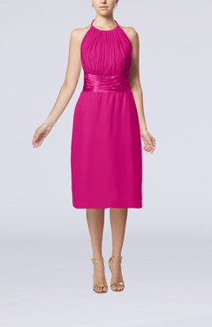 Hot Pink Simple Halter Backless Chiffon Knee Length Cocktail Dresses