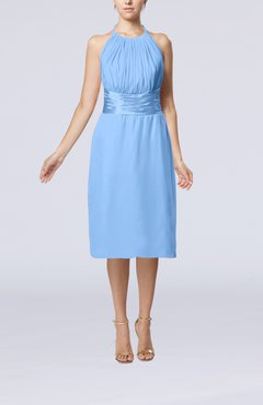 Light Blue Simple Halter Backless Chiffon Knee Length Cocktail Dresses