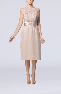 Light Pink Simple Halter Backless Chiffon Knee Length Cocktail Dresses