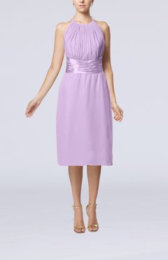 Light Purple Simple Halter Backless Chiffon Knee Length Cocktail Dresses