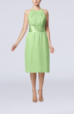 Pale Green Simple Halter Backless Chiffon Knee Length Cocktail Dresses