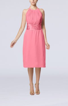 Pink Simple Halter Backless Chiffon Knee Length Cocktail Dresses