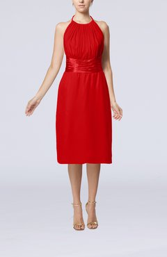 red simple halter backless chiffon knee length cocktail dresses