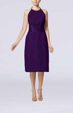 Royal Purple Simple Halter Backless Chiffon Knee Length Cocktail Dresses
