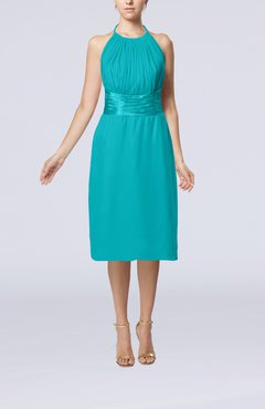 Teal Simple Halter Backless Chiffon Knee Length Cocktail Dresses