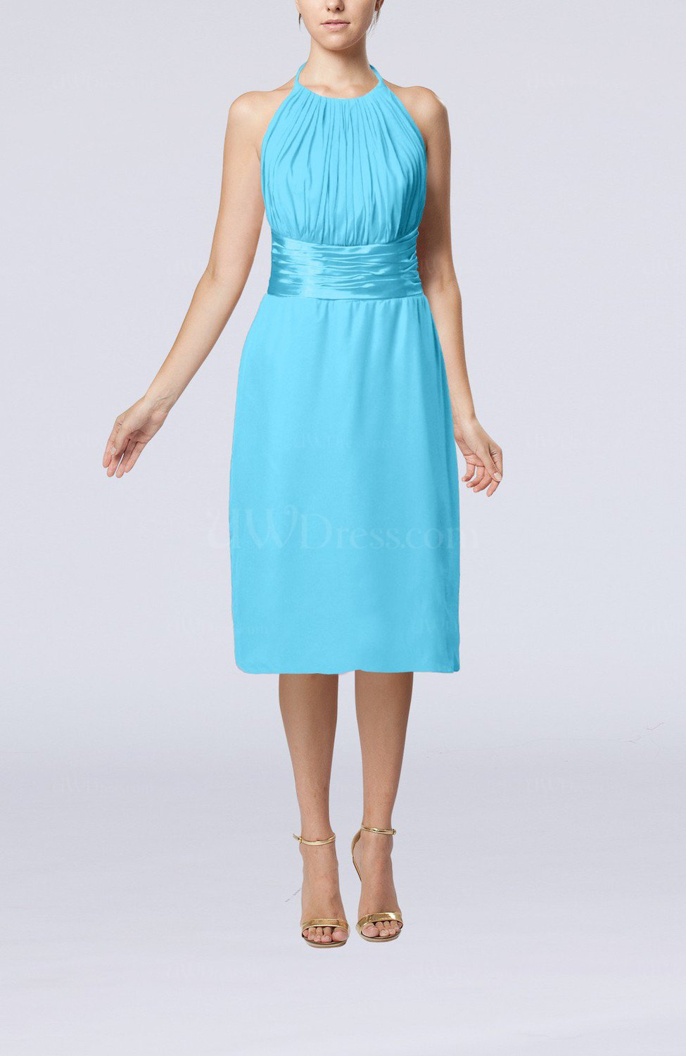 turquoise simple halter backless chiffon knee length