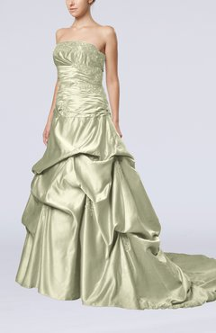 Platinum Glamorous A-line Sleeveless Backless Satin Chapel Train Quinceanera Dresses