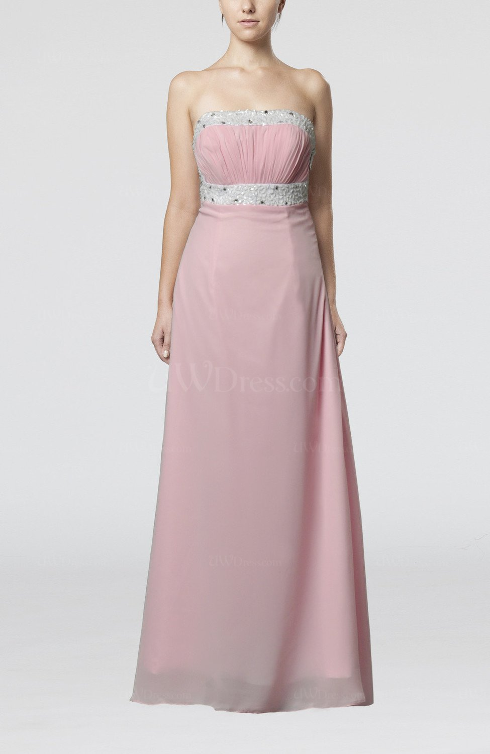 Baby pink sexy sheath strapless criss cross straps brush for Strapless dresses for wedding guests