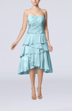 Aqua Romantic A-line Sleeveless Backless Chiffon Ruching Wedding Guest Dresses