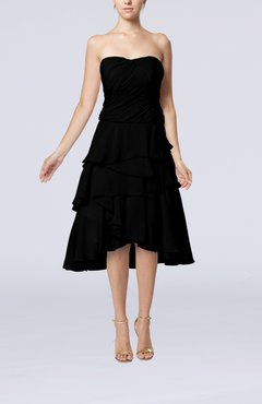 Black Romantic A-line Sleeveless Backless Chiffon Ruching Wedding Guest Dresses