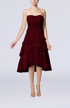 Burgundy Romantic A-line Sleeveless Backless Chiffon Ruching Wedding Guest Dresses