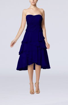Electric Blue Romantic A-line Sleeveless Backless Chiffon Ruching Wedding Guest Dresses