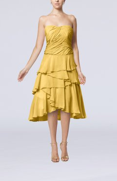 Gold Romantic A-line Sleeveless Backless Chiffon Ruching Wedding Guest Dresses