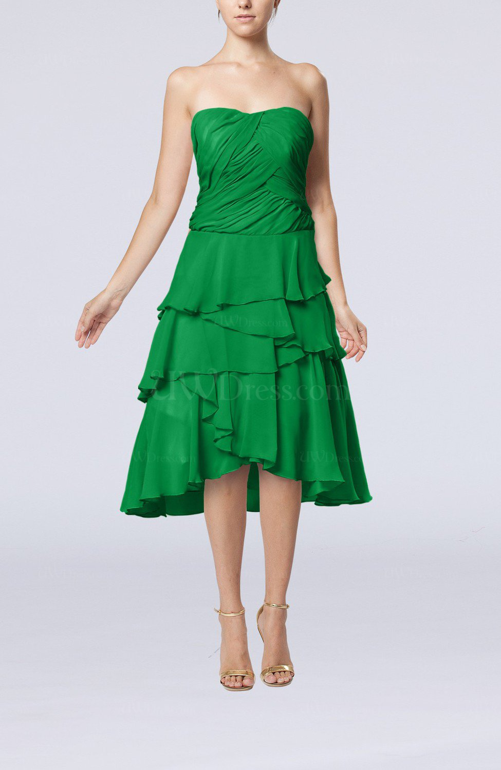 Green romantic a line sleeveless backless chiffon ruching for Backless wedding guest dresses