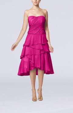 Hot Pink Romantic A-line Sleeveless Backless Chiffon Ruching Wedding Guest Dresses