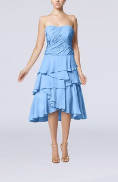 Light Blue Romantic A-line Sleeveless Backless Chiffon Ruching Wedding Guest Dresses