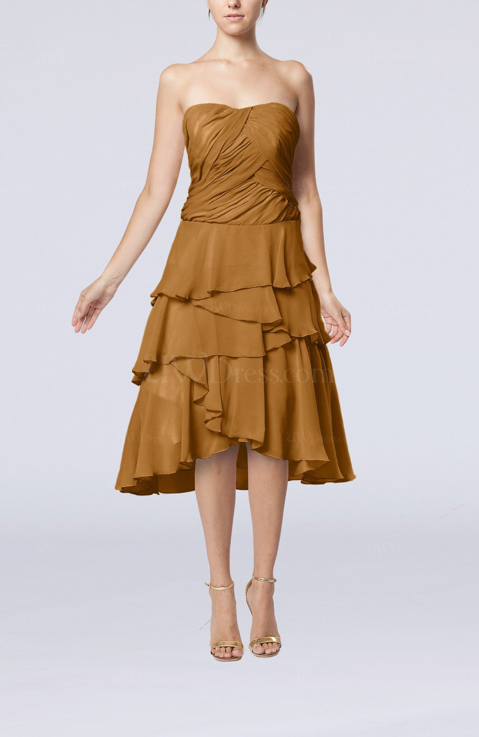 Light brown romantic a line sleeveless backless chiffon for Brown dresses for wedding guest