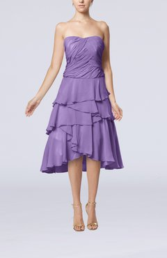 Lilac Romantic A-line Sleeveless Backless Chiffon Ruching Wedding Guest Dresses