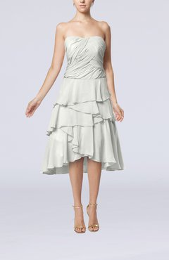 Off White Romantic A-line Sleeveless Backless Chiffon Ruching Wedding Guest Dresses