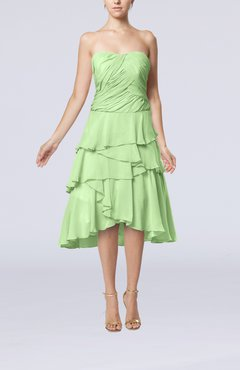 Pale Green Romantic A-line Sleeveless Backless Chiffon Ruching Wedding Guest Dresses