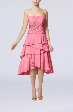 Pink Romantic A-line Sleeveless Backless Chiffon Ruching Wedding Guest Dresses