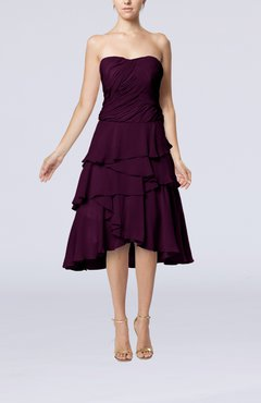 Plum Romantic A-line Sleeveless Backless Chiffon Ruching Wedding Guest Dresses