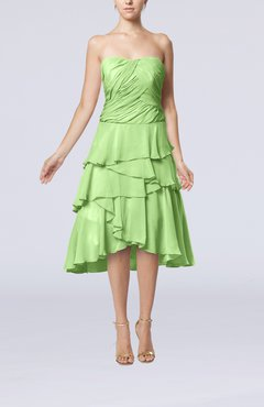 Sage Green Romantic A-line Sleeveless Backless Chiffon Ruching Wedding Guest Dresses
