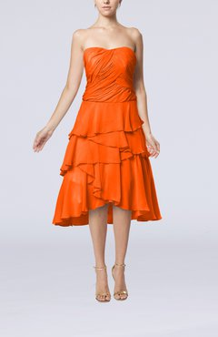 Tangerine Romantic A-line Sleeveless Backless Chiffon Ruching Wedding Guest Dresses