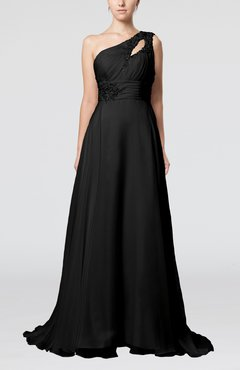 Black Romantic Asymmetric Neckline Sleeveless Chiffon Beaded Prom Dresses
