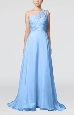 Light Blue Romantic Asymmetric Neckline Sleeveless Chiffon Beaded Prom Dresses