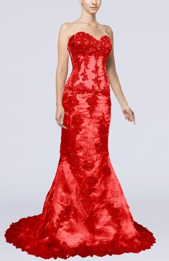 Red Gorgeous Mermaid Sweetheart Organza Chapel Train Evening Dresses