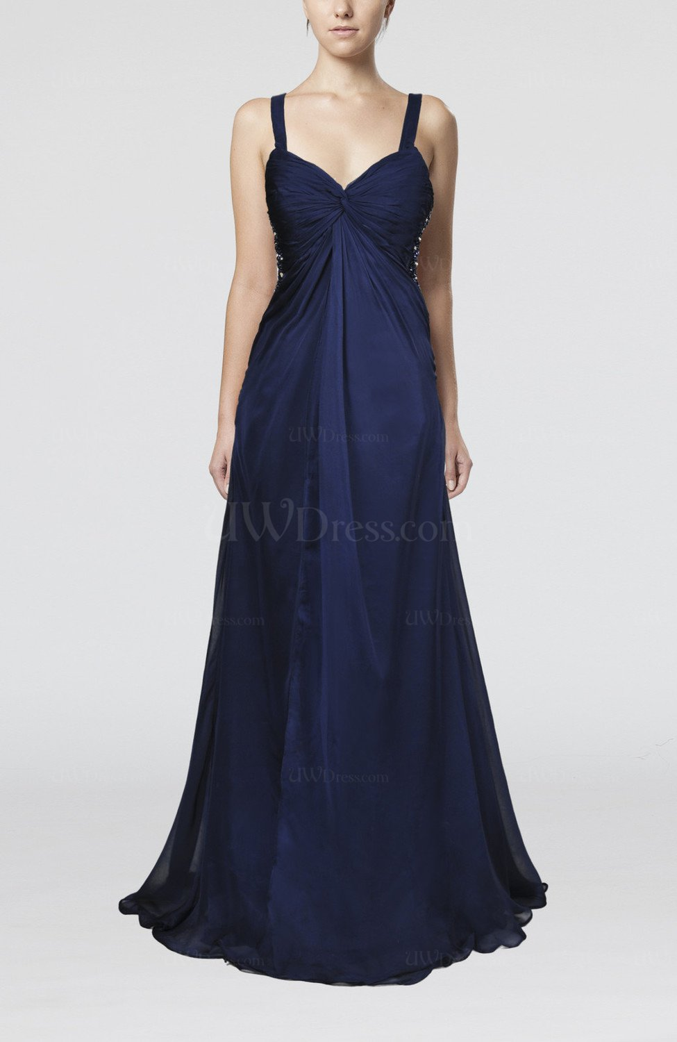 Electric blue sexy empire sleeveless backless chiffon for Backless wedding guest dresses