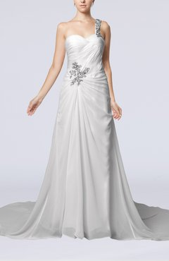 White Romantic Church One Shoulder Sleeveless Zip up Rhinestone Bridal Gowns