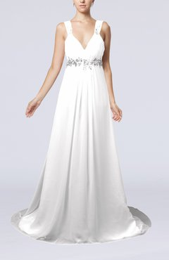 White Elegant Hall Empire Sleeveless Chiffon Court Train Bridal Gowns