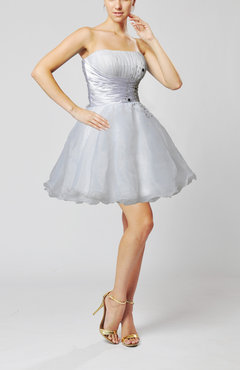 White Cute Baby Doll Strapless Sleeveless Backless Organza Homecoming Dresses