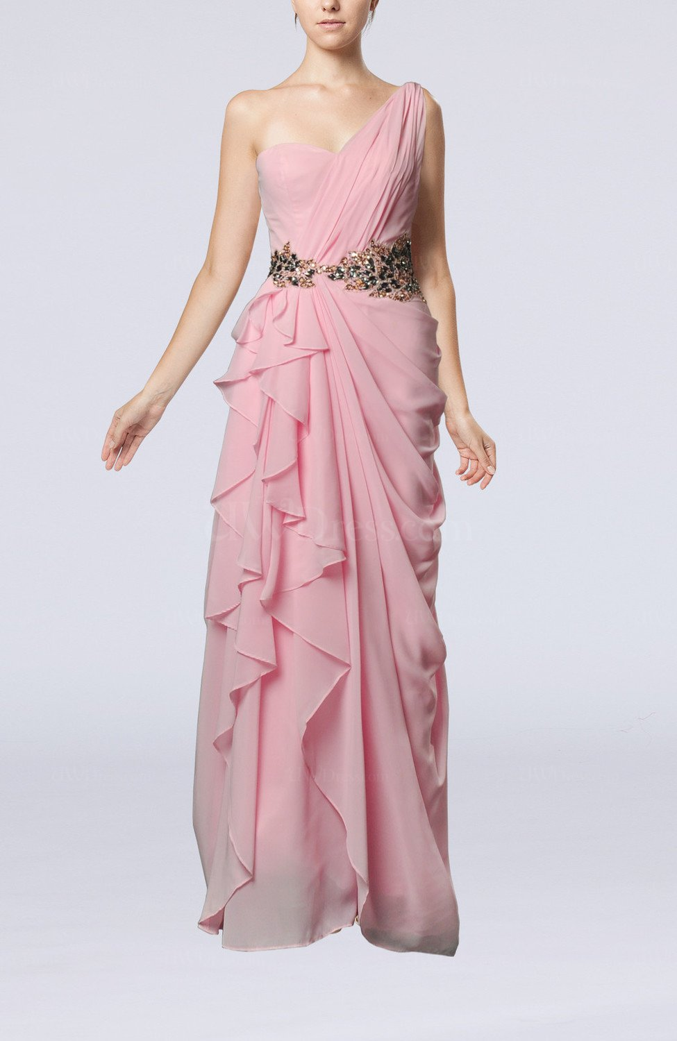 baby pink romantic one shoulder sleeveless floor length With romantic dresses for wedding guests