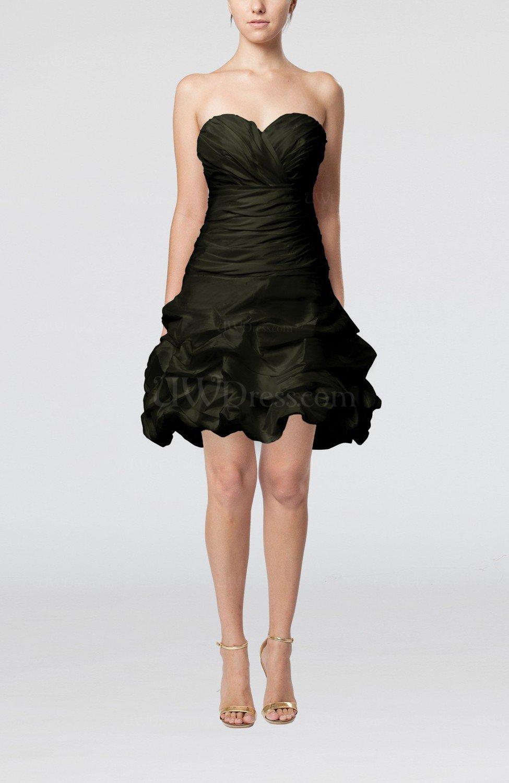 Black Cute Hall A-line Sleeveless Taffeta Short Pick up Bridal Gowns ...