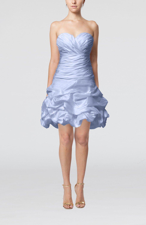 Ice Blue Cute Hall A-line Sleeveless Taffeta Short Pick up Bridal ...